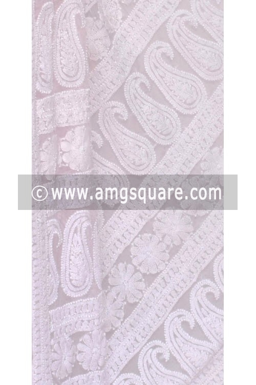 Baby Pink Allover Hand Embroidered Lucknowi Chikankari Saree (With Blouse - Georgette) 14593