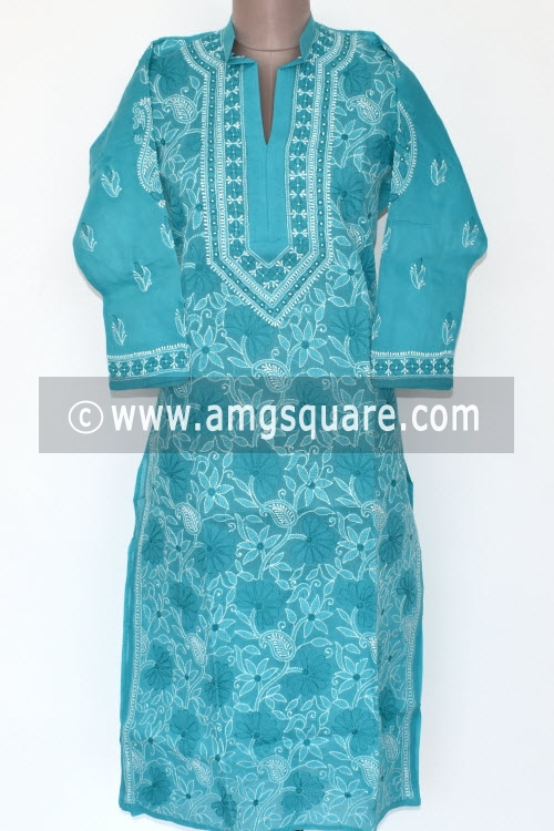 Pherozi Blue Hand Embroidered Lucknowi Chikankari Long Kurti (Cotton) Bust-42 inch 17884