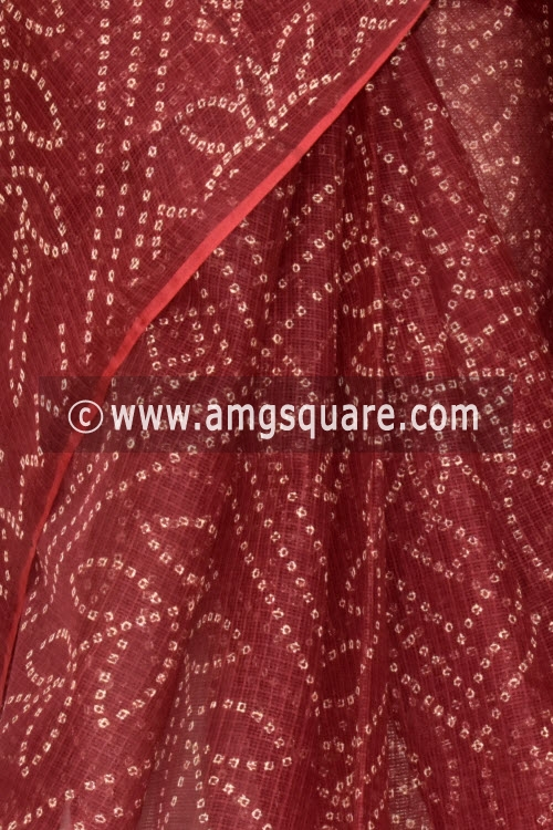 Maroon Chunri Print JP Kota Doria Cotton Saree (without Blouse) 13539