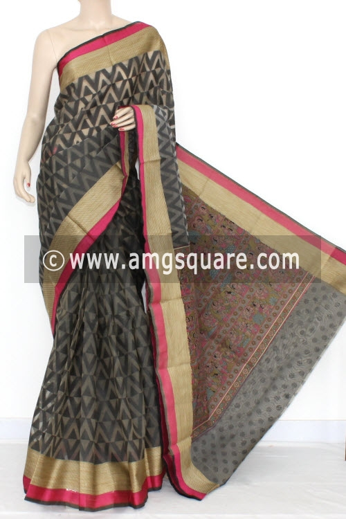 Black Grey Banarasi Kora Cot-Silk Handloom Saree (With Blouse) 16108