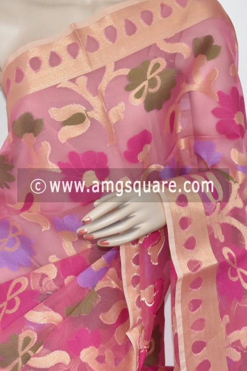 Pink Banarasi Kora Cot-Silk Handloom Saree (With Blouse) Allover Zari weaving 16125