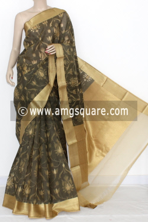 Fawn Grey Banarasi Kora Cot-Silk Printed Handloom Saree (With Blouse) Golden Zari 16111