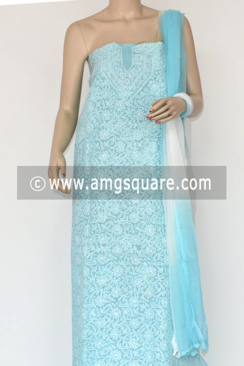 Sky Blue Un-Stitched Hand-Embroidered Lucknowi Chikankari Salwar Kameez (Cotton) 17868