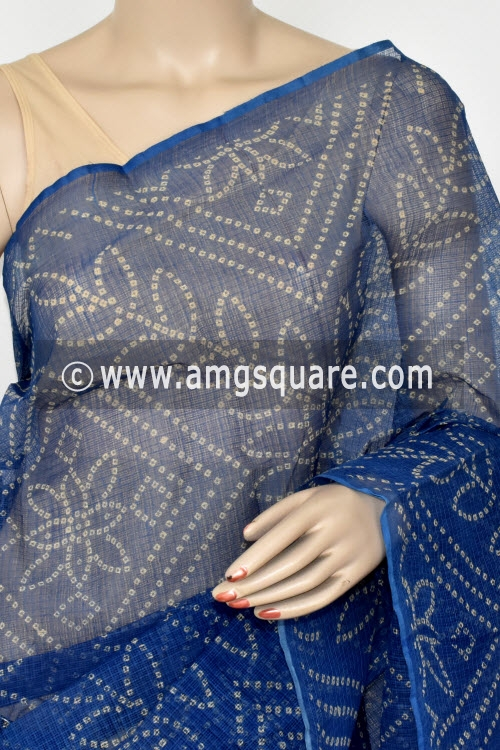 Blue Chunri Print JP Kota Doria Cotton Saree (without Blouse) 13536