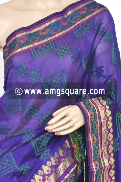 Royal Blue Handloom Banarasi Kora Saree (with Blouse) Allover Resham Weaving 16227