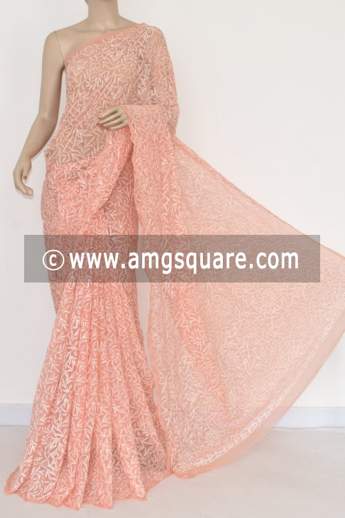 Light Peach Allover Tepchi Work Hand Embroidered Lucknowi Chikankari Saree (With Blouse - Georgette) 14832