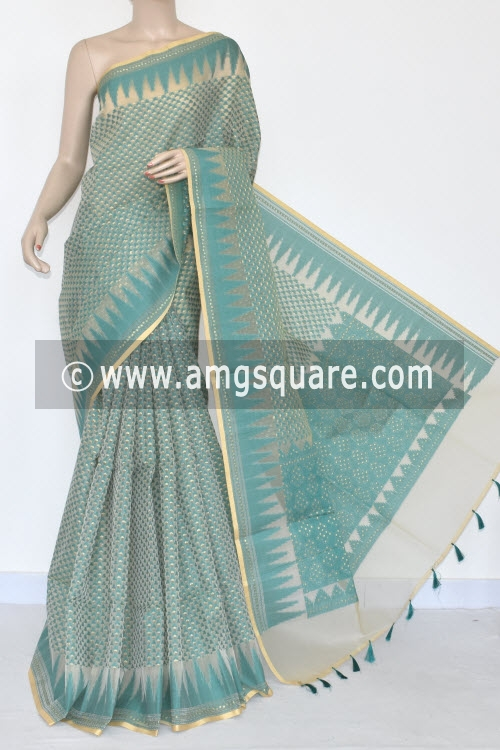 Sea Green Banarasi Kora Cot-Silk Handloom Saree (With Blouse) Temple Border 16122