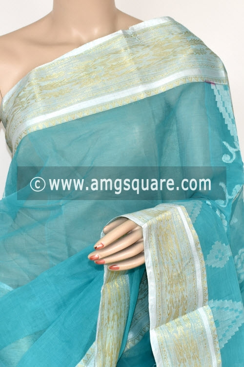 Pherozi Blue Handwoven Bengal Tant Cotton Saree (Without Blouse) Zari Border 17412