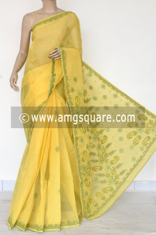 Lemon Yellow Applique Work Hand Embroidered Lucknowi Chikankari Saree (With Contrast Blouse - Cotton) 14726