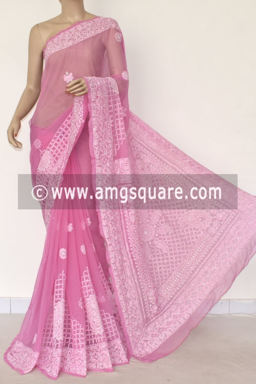 Onion Hand Embroidered Lucknowi Chikankari Saree (With Blouse - Georgette) 14488