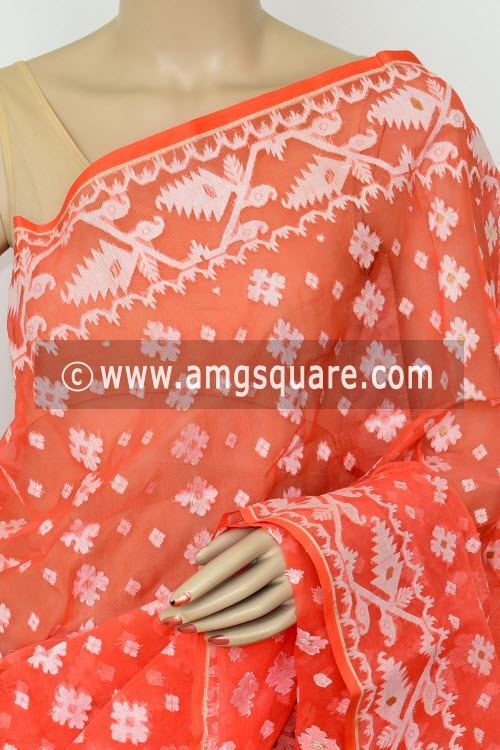 Light Orange Jamdani Handwoven Bengal Tant Cotton Saree (Without Blouse) 17013