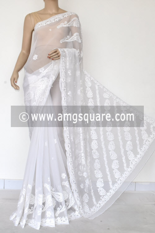 White Designer Hand Embroidered Lucknowi Chikankari Saree (With Blouse - Georgette) 14621