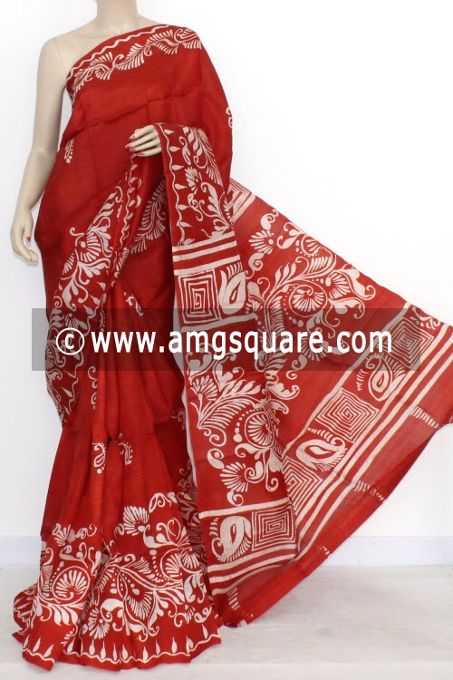 Red Designer Batik Print Double Knitted Bishnupuri Pure Silk Saree (With Blouse) 13840