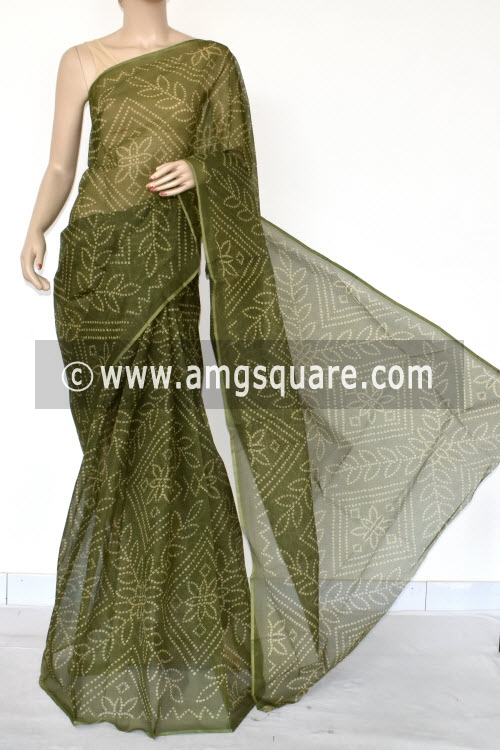 Menhdi Green Chunri Print Premium JP Kota Doria Cotton Saree (without Blouse) 13538