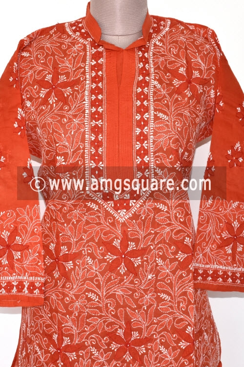 Brick Color Hand Embroidered Lucknowi Chikankari Long Kurti (Cotton) Bust-44 inch 17883
