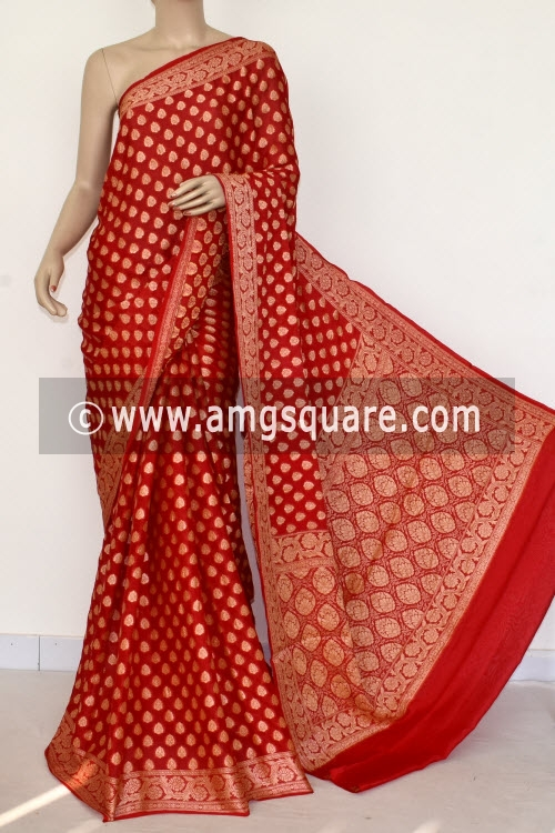 Red Banarasi Handloom Khaddi Georgette Saree (With Blouse) Allover Resham Weaving 16164