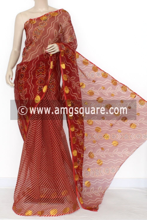 Maroon JP Kota Doria Printed Cotton Saree (without Blouse) Zari Border & Pallu 15294