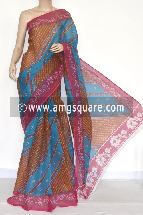 Pherozi Blue Pink JP Kota Doria Printed Cotton Saree (without Blouse) 15330