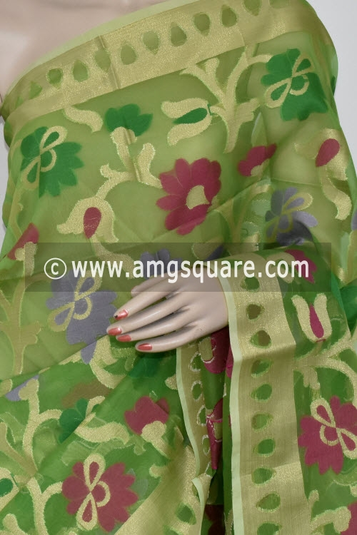 Parrot Green Banarasi Kora Cot-Silk Handloom Saree (With Blouse) Allover Zari weaving 16126