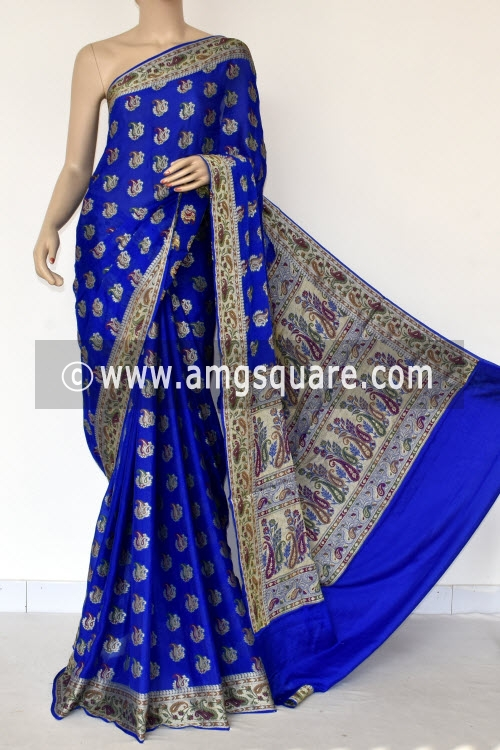 Royal Blue Banarasi Handloom Khaddi Georgette Saree (With Blouse) Allover Resham Weaving 16169