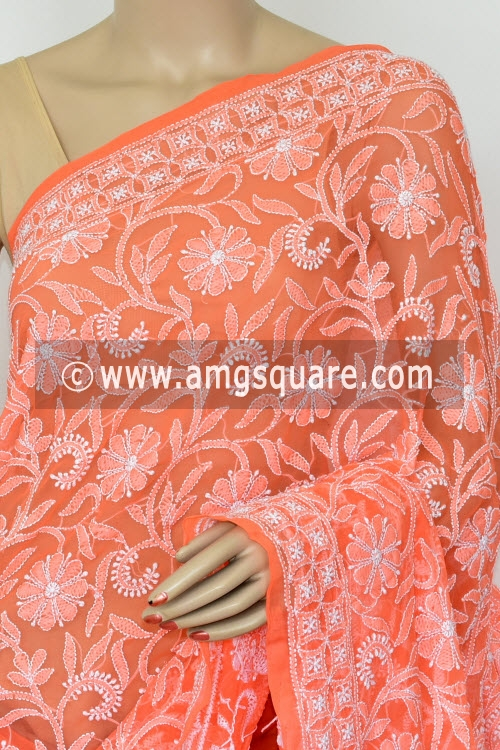 Orange Allover Hand Embroidered Lucknowi Chikankari Saree (With Blouse - Georgette) 14876