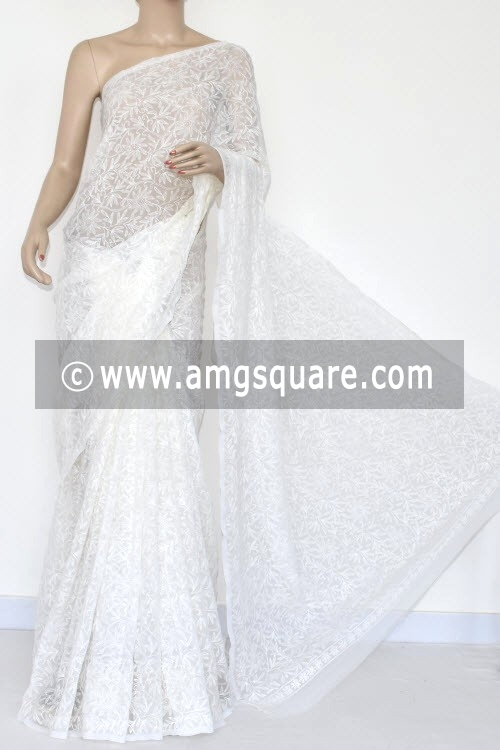 Off White Hand Embroidered Lucknowi Chikankari Saree (With Blouse - Georgette) Allover Tepchi Work 14705