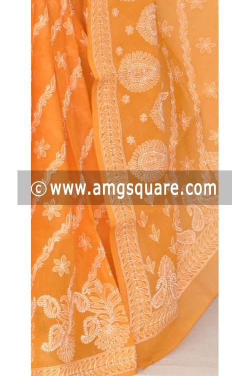 Mustard Yellow Hand Embroidered Lucknowi Chikankari Saree (With Blouse - Cotton) 14672