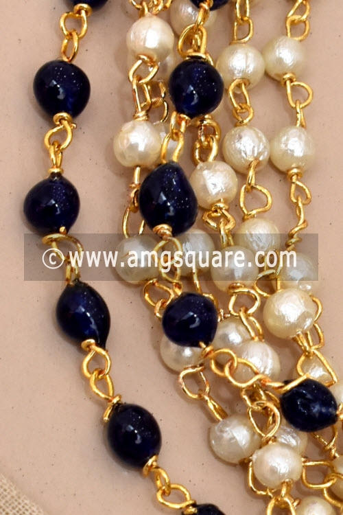 Blue Bead Mala with Embedded Pearl and colored Moti (With Earrings) 12780
