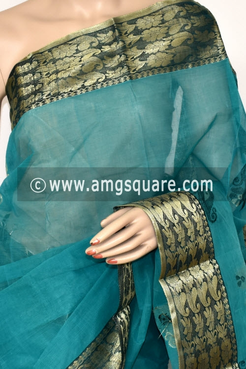 Sea Green Handwoven Bengal Tant Cotton Saree (Without Blouse) Zari Border 17406