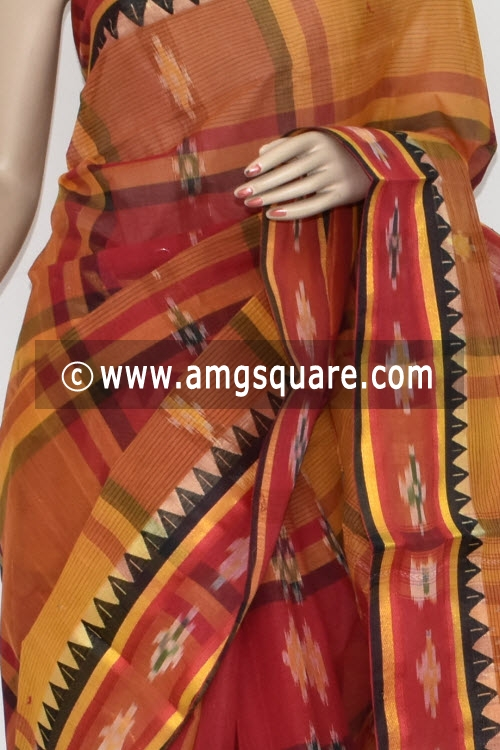 Red Mustared Pochampalli Handwoven Dhaniakhali Bengal Tant Cotton Saree (Without Blouse) 13942
