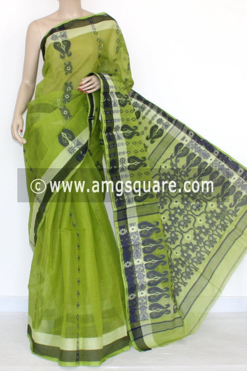 Parrot Green Handwoven Bengal Tant Cotton Saree (Without Blouse) 14174