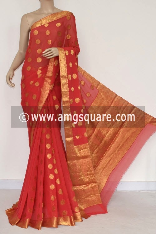 Orange Handloom Semi-Chiffon Saree (with Blouse) Allover Zari Border and Booti 16196