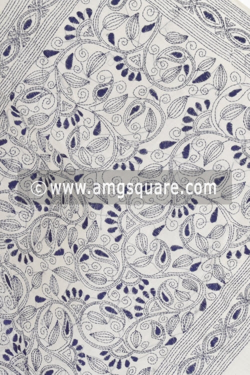 Blue Hand Embroidered Kantha Work Bengal Tant Cotton Saree Without