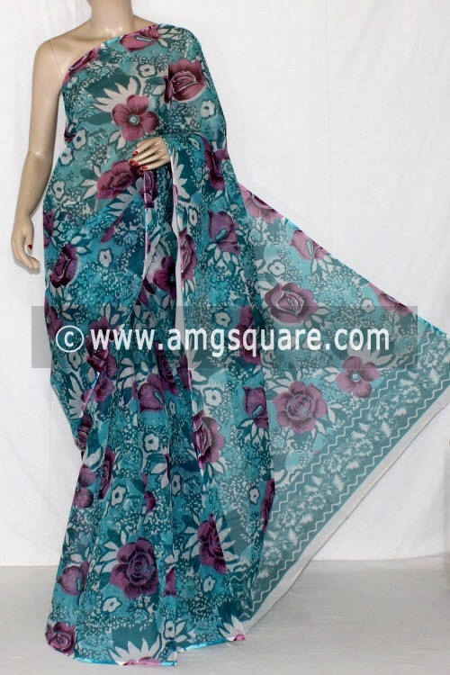Sea Green Premium JP Kota Doria Printed Cotton Saree (without Blouse) 15231
