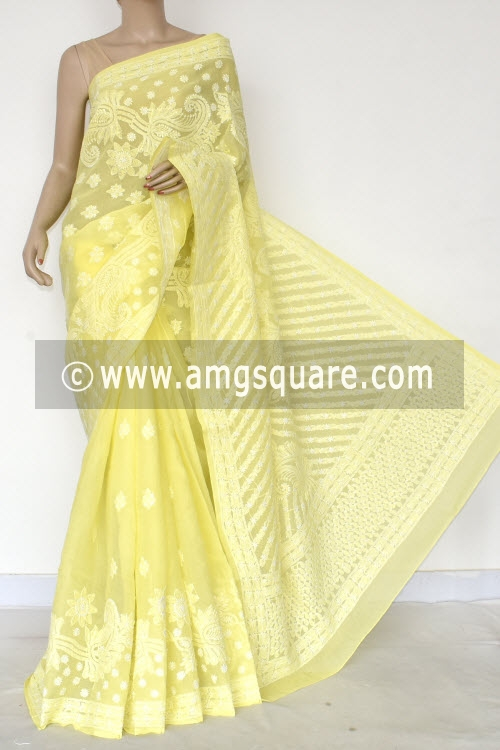 Greenish Lemon Yellow Hand Embroidered Lucknowi Chikankari Saree (With Blouse - Cotton) Half Jaal 14769
