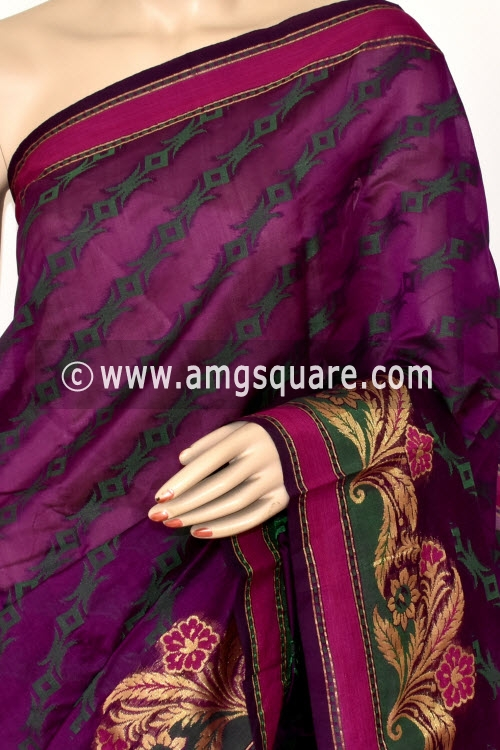 Magenta Handloom Banarasi Semi Cotton Saree (with Blouse) Allover Resham Weaving 16225