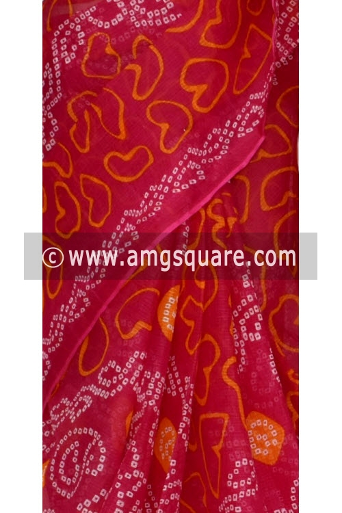 Rani Pink JP Kota Doria Chunri Print Cotton Saree (without Blouse) 15335