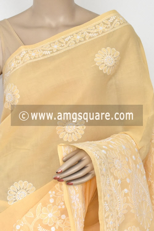 Light Peach Yellow Hand Embroidered Lucknowi Chikankari Saree (With Blouse - Cotton)  Heavy Skirt and Rich Pallu 14755