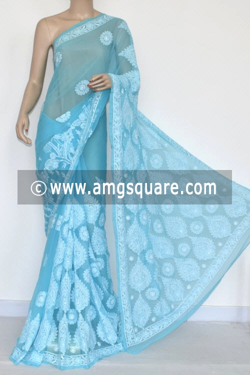 Pherozi Blue Hand Embroidered Lucknowi Chikankari Saree (With Blouse - Georgette) 14573