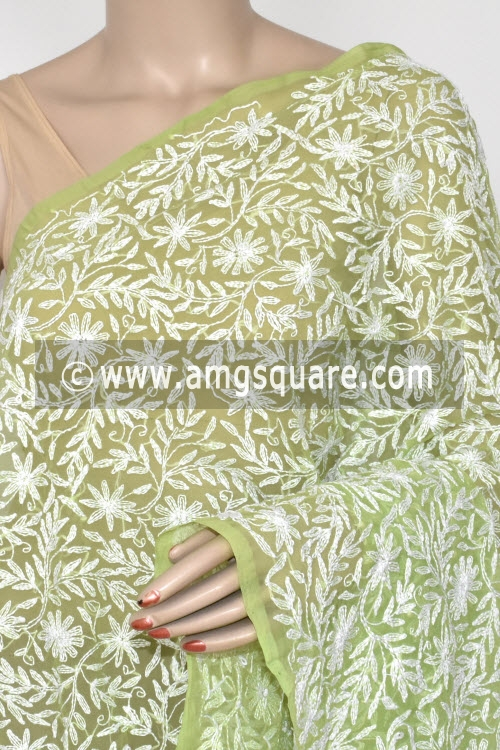 Menhdi Green Hand Embroidered Allover Tepchi Work Lucknowi Chikankari Dupatta (Georgette) 17938