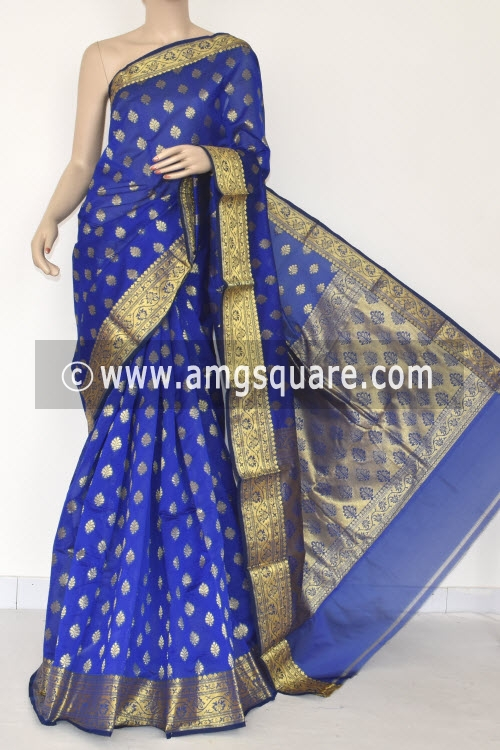 Royal Blue Handloom Banarasi Kora Saree (with Blouse) Zari Border and Allover Booti 16256