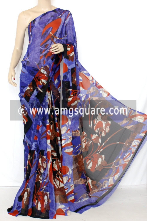 Blue Dx Quality Faux Georgette Saree (With Blouse) 13342