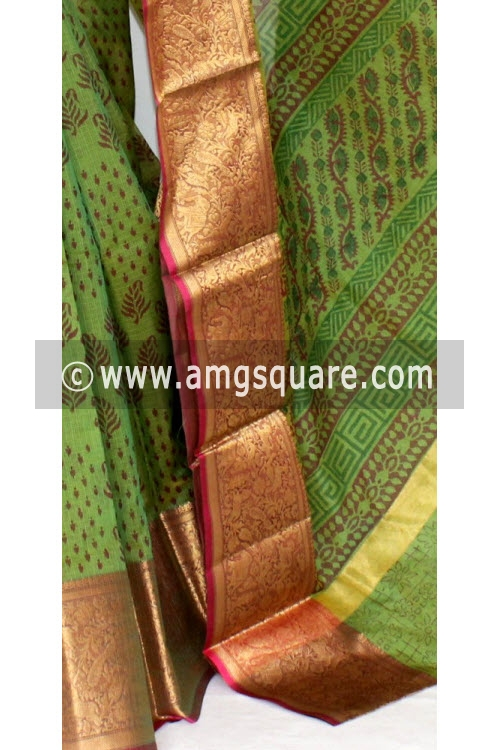 Menhdi Green Banarasi Kora Cot-Silk Printed Handloom Saree (With Blouse) 16106