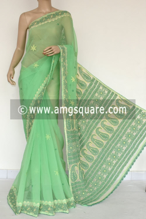 Pista Green Cream Designer Hand Embroidered Lucknowi Chikankari Saree (With Contrast Blouse - Georgette) 14606