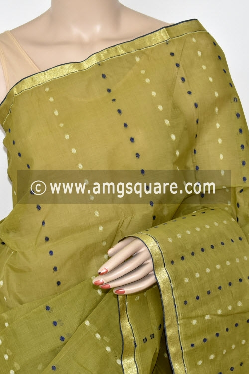 Menhdi Green Thousand Booti Handwoven Bengal Tant Cotton Saree (Without Blouse) 17024