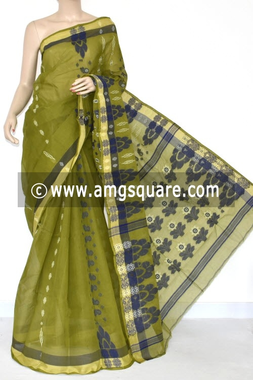 Menhdi Green Handwoven Bengali Tant Cotton Saree (Without Blouse) 14057