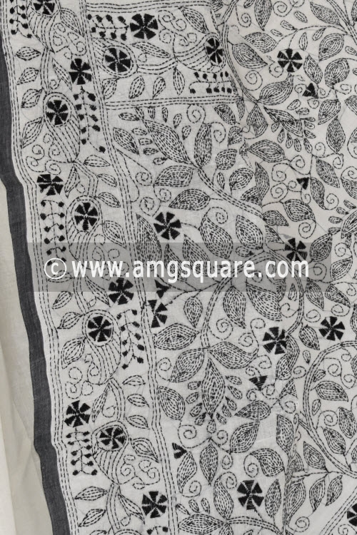 Black Hand Embroidered Kantha Work Bengal Tant Cotton Saree Without