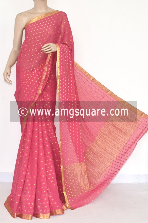 Orange Handloom Semi-Chiffon Saree (with Blouse) Allover Zari Border and Booti 16199