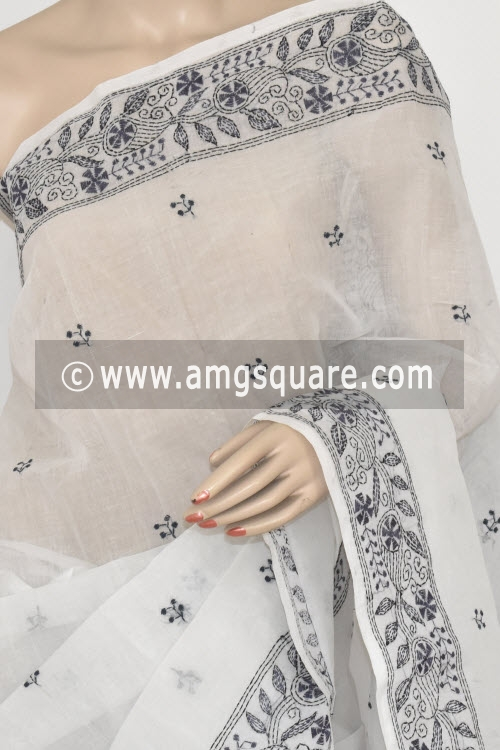 Grey Hand Embroidered Kantha Work Bengal Tant Cotton Saree (Without Blouse) 17227