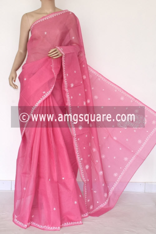 Pink Hand Embroidered Lucknowi Chikankari Saree (With Blouse - Cotton) 14511